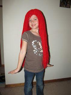 Ariel yarn wig tutorial