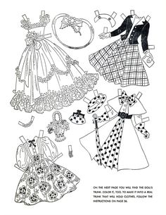 dresses, paper dolls, outfits