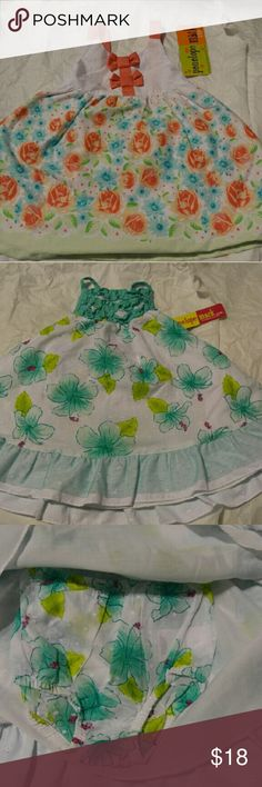 Set of 2 Baby Girl Summer Outfits New With Tags Set of two baby girl summer outfits with diaper covers.... One diaper cover is white and the other fabric matches the top.  Both New With Tags Smoke Free Home Penelope Mack Dresses Casual