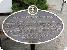 Yorkville Branch Library - Toronto Public Library - Historical Plaque.