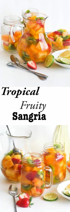 Tropical Sangria- A refreshing blend of pineapple papaya guava juice and fruits infused with moscato and rum. Tropical Sangria Recipe, Sangria Recipes, Potluck Recipes, Saveur Recipes, Cooking Recipes, Papaya Recipes, Guava Recipes, Guava Juice, Pineapple Juice