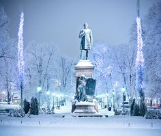 Esplanade Park in Helsinki, Finland in its winter suit Great Places, Beautiful Places, Places To Visit, Finland Travel, Scandinavian Countries, Winter Travel, Norway, Around The Worlds, Scenery