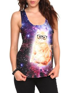 Hipster cat in spaaaaace...on a tank top