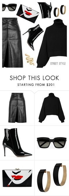 """""""Street Style"""" by dressedbyrose ❤ liked on Polyvore featuring Isabel Marant, Diesel, Gianvito Rossi, Yves Saint Laurent, Charlotte Olympia, Zimmermann, StreetStyle, black, ootd and polyvoreeditorial"""