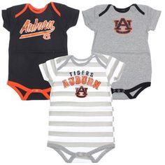 Auburn Tigers Infant Navy Blue/Ash/Striped Lil Fan 3-Piece Bodysuit Set