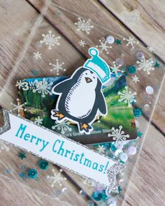 clear christmas shaker card
