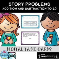 Jun 25, 2020 - These 26 digital task cards on BOOM Learning are a great way for your little one to beginning letter sounds. These digital task cards will help your student review story problems with addition and subtraction within 20. There are 18 self grading cards. 9 are student entered answers and 9 are mul... Grade 1, First Grade, Second Grade, Learning Cards, Fun Learning, Math Stations, Math Centers, Seeing Quotes, Fluency Practice