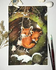 #nabbit #nabbitdesign #sennelierwatercolor #senneliercolors #sennelier #archerspaper #watercolor #watercolour #watercolorpainting #painting #fox #fongjun #maimeow #snow #winter #warm #hhkintertrade