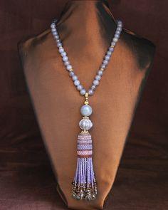 Grey Agate & Smoky Quartz Tassel Necklace