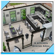 #Sims#Freeplay -- I like the white and black and gray color scheme.  The clock on the wall and the kitchen layout re cool too.