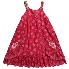 Catimini  Girls Pink Cotton Sleeveless Floral Sundress
