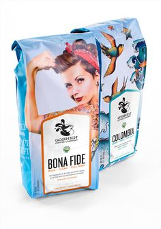 """""""Our goal with the packaging design for Goshen Coffee was twofold – we wanted to create a distinct look that represented our client's uncompromising attitude, while simultaneously looking nothing like other coffee brands on display in the local St. Louis market. The labels are actually stickers that are affixed when the bags are filled."""""""
