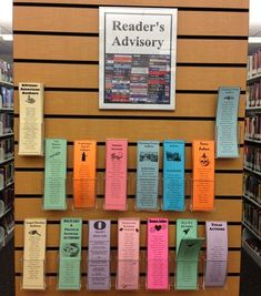 Mitchell Library - Reader's Advisory bookmarks, popular authors for various… Teen Library Displays, Teen Library Space, Library Books, Middle School Libraries, Elementary Library, Public Libraries, Library Signage, Library Programs, Library Science