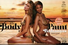 Nina AGDAL and Ariel MEREDITH  : bodypainting and makeup by Joanne GAIR, photographs by Walter IOOSS jr.