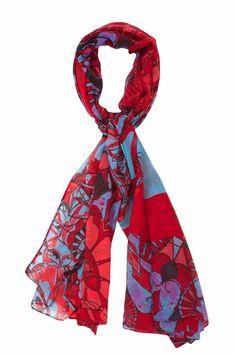 57W54A1_3159 Desigual Scarf Rectangle Rita, Red abd Blue