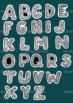 大胆木刻手绘白色描边和网格背景上的黑色填充大写字母的字体集。图为 eps8 矢量模式 — 图库插图 #22523425