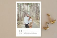 """Stacked Banner"" - Minimalist, Simple Save The Date Cards in Cotton by Amy Kross."