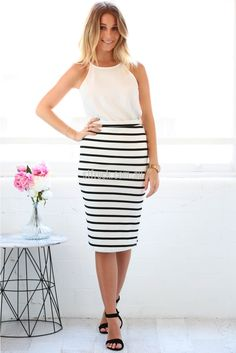 Courtney Pencil Skirt in White | St. Frock
