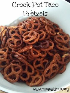 These Crock Pot Taco Pretzels are just three ingredients and a great snack or man food! #mummydeals.org #slowcooker #crockpot