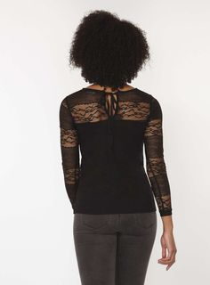 Womens Black Lace Bow Back Top- Black