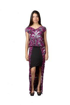 Conjunto Vika de falda asimetrica y top de lycra de la diseñadora venezolana Bancy