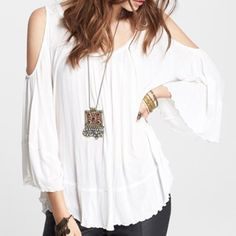 Hummingbird Jersey Top Super lightweight and comfy top! Features raw edges and open shoulders with back tie detail. Worn one time. It's a. XS but this would definitely fit XS-M ... Easily. It's actually too big on me which is why I'm selling. Free People Tops