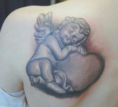 Angel tattoos represent love, protection, and serenity. Here are the most popular angel tattoo designs you can get inked with. Angel Back Tattoo, Angel Tattoo For Women, Baby Angel Tattoo, Tattoo Name Fonts, Baby Name Tattoos, Cherub Tattoo Designs, Best Tattoo Designs, Bild Tattoos, Body Art Tattoos