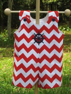 Classic Baby Boy Nautical Chevron Romper in Riley Blakes Chevron Red Cotton Fabric. $40.00, via Etsy.