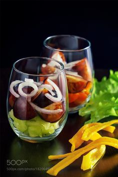 Salad by Alexander_Lappo Finger Foods, Wine Glass, Salad, Tableware, Passion, Ideas, Appetizers, Dinnerware, Finger Food