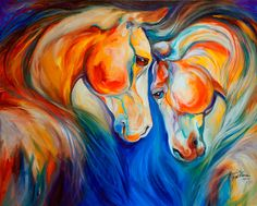 HORSE HEART TWINS EQUINE ORIGINAL OIL PAINTING 30X24 by MARCIA BALDWIN