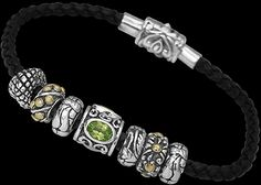 turquoise and peridot beads and jewelry | Leather Bracelets - Peridot, 18K Gold .925 Sterling Silver Beads and ...