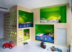 Ярко зеленый цвет в интерьере детской