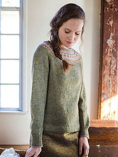 Helen is worked from the top down in the round. This pullover has a hybrid raglan-yoke with Bohus-inspired stranded colorwork.