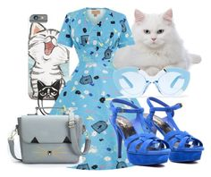 """Feline lover"" by hanisi ❤ liked on Polyvore featuring Yves Saint Laurent and Karen Walker"