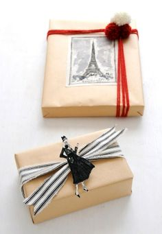 Paris themed #giftwrapping #DIY #crafts ToniK ⓦⓡⓐⓟ ⓘⓣ ⓤⓟ Natural, black www.flickr.com/photos/creature_comforts/6500401267/in/photostream/lightbox/