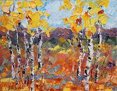 "Sunlight Harvest by Judith Babcock Oil ~ 11"" x 14""-Original Palette Knife Aspen Landscape Painting ""Sunlight Harvest"" by Colorado Impressionist Judith Babcock-http://judithbabcockfineart.com/dataviewer.asp?keyvalue=13218&subkeyvalue=1275679&page=WorksZoom"