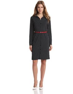 Anne Klein Women's Leo Dot Print Belted Dress - Listing price: $99.00 Now: $69.99 + Free Shipping