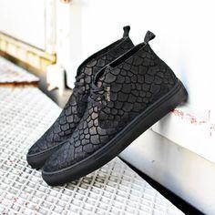 "Axel Arigato black ""fish"" embossed suede chukka sneaker #axelarigato www.axelarigato.com"