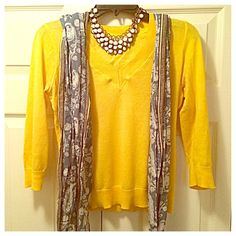 Ann Taylor Loft | Yellow V-Neck Summer Sweater Gorgeous canary yellow lightweight sweater that's guaranteed to brighten any spring day! Three-quarter length sleeves. Excellent used condition. Make me an offer  LOFT Sweaters V-Necks