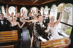 Deering Estate Wedding Ideas: Transport those out of town guests to your wedding in style. This Miami couple provided a Trolly instead of the big bus every one uses. Wedding Poses, Wedding Groom, Wedding Cars, Wedding Ideas, Wedding Stuff, Wedding Inspiration, Wedding Dresses, Gold Wedding Theme, Miami Wedding