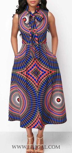 Sleeveless Printed Pocket Bowknot Neck Dress   #liligal #dresses #womenswear #womensfashion #africanfashionstyles