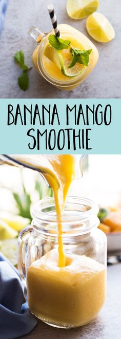 This easy banana mango smoothie recipe is made without yogurt, 100% fruit (so it's vegan) and healthy! A great breakfast idea for kids and the entire family!