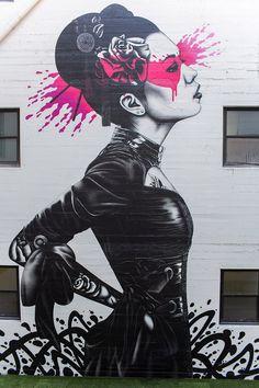 """Nadeshiko"" a new street art mural by  Irish artist Fin DAC in Downtown Los Angeles. 2"