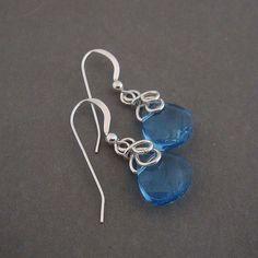 Lulu wire wrapped earrings in blue