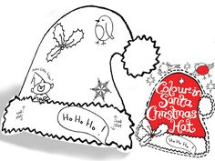 colour in party hat santa hat x2 ph04 by eggnogg | notonthehighstreet.com