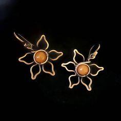 Flower earrings, copper flower, wire flower gemstone earrings, orange aventurine earrings, handmade flowers