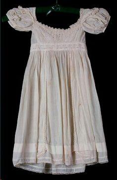 Dress, baby's, ivory cotton, Ayshire-worked bodice, c. 1825