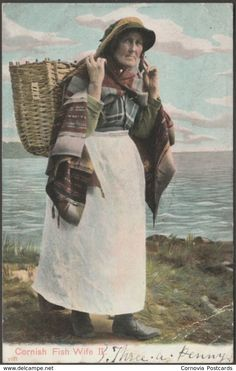 Postcard of Fish wife walking with her basket - Collections - Penlee House Gallery and Museum Penzance Cornwall UK Penzance Cornwall, Celtic Pride, St Just, Melbourne, Postcards For Sale, Aesthetic Women, Museum, Cornwall England, St Ives