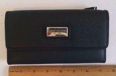 Tommy Hilfiger BLACK Logo Ladies CHECKBOOK WALLET Clutch Tri-Fold Free USA Ship  #TommyHilfiger #Wallet
