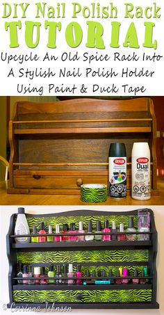 Upcycle an old spice rack into a stylish Nail Polish Rack with spray paint and duct tape I really need to make one of these to hang on my bathroom wall Upcycled Crafts, Diy Crafts, Repurposed, Decor Crafts, Recycled Gifts, Tape Crafts, Design Crafts, Diy Nail Polish Rack, Nail Rack